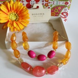 Chunky Boho Pink & Orange Multi Strand Necklace